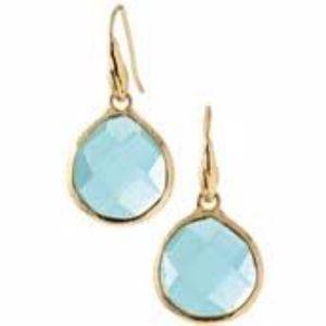 Serenity Small Stone Drops Earrings - Aqua